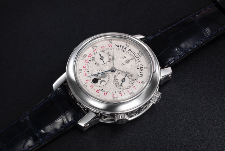 Patek Philippe Ref. 5002P- 001 Sky Moon Tourbillon, an extremely rare platinum double-dialled wristwatch with 12 complications offered at Christie's in 2021