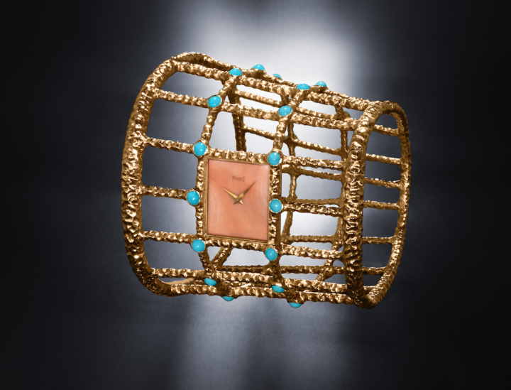 Piaget 1960s cuff watch in yellow gold, coral and turquoise