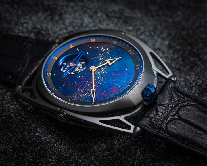 The DB28XP Meteorite. Black zirconium case, meteorite dial with unusual geometrical forms (octahedrites), blued, and studded with a multitude of tiny white gold pins. Hand-wound movement with a De Bethune-patented balance wheel. Ten numbered pieces.