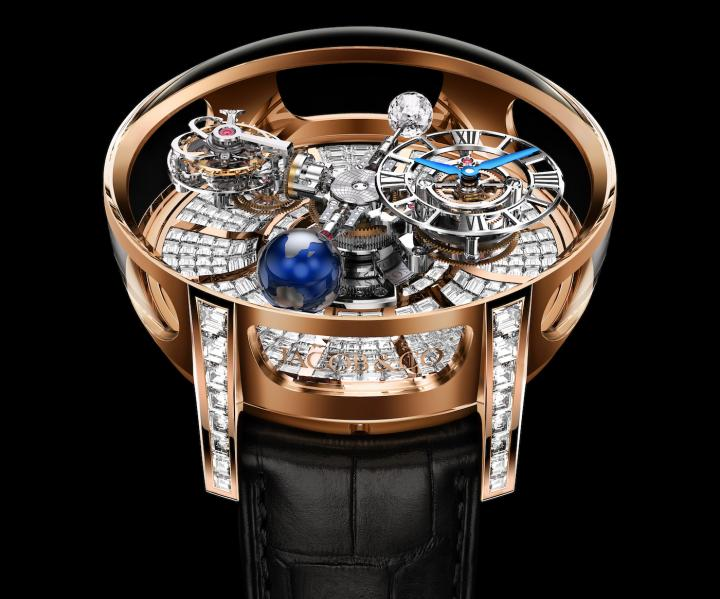 The Astronomia Tourbillon Baguette connects the Astronomia high- complication model with Jacob & Co's singular gem-setting know-how. It is a cinematic sculpture animated by a four-arm movement construction that rotates and floats through the sapphire and diamond-bound space inside its spectacular case. A grand total of 342 invisibly set, baguette-cut diamonds adorn the dial's backdrop, while 80 invisibly set, baguette-cut diamonds make up the lugs.