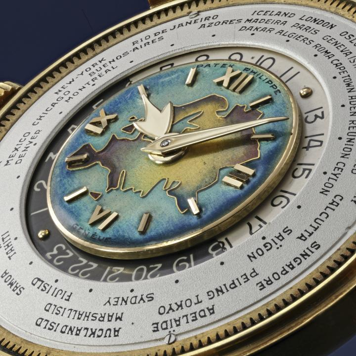 Estimated in excess of CHF 3.5 million, this rare Patek Philippe yellow gold reference 2523 with cloisonné enamel dial, representing the Eurasian landmass, is a highlight of 2021's Phillips' Geneva Watch Auction XIII.