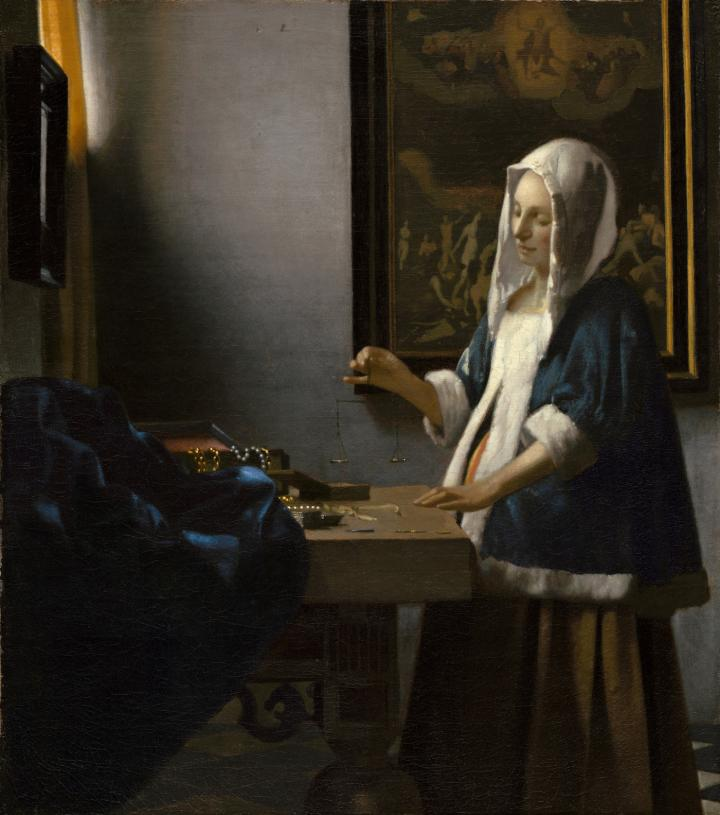 Woman Holding a Balance, formerly also entitled Girl Weighing Pearls or The Goldweigher, is an oil painting on canvas (42.5cm × 38cm) by the Dutch Golden Age painter Johannes Vermeer, painted between 1662 and 1665 (detail).
