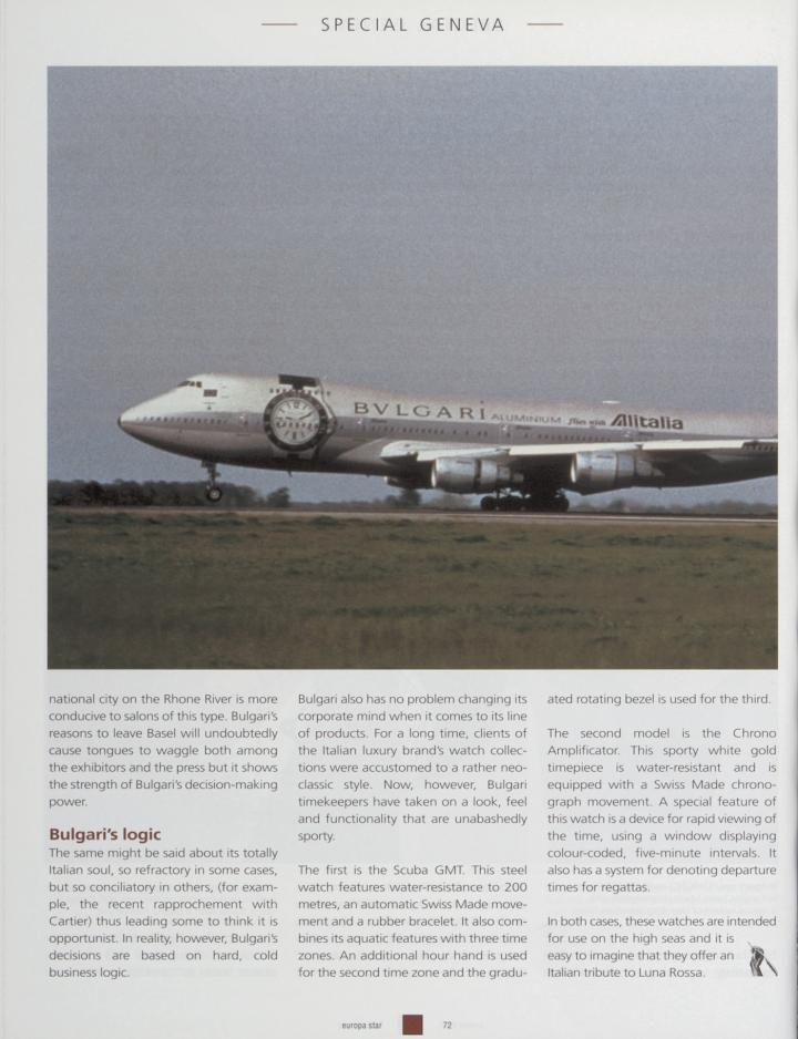 The Bulgari Aluminium, adorning an Alitalia plane, in 2000 in the pages of Europa Star