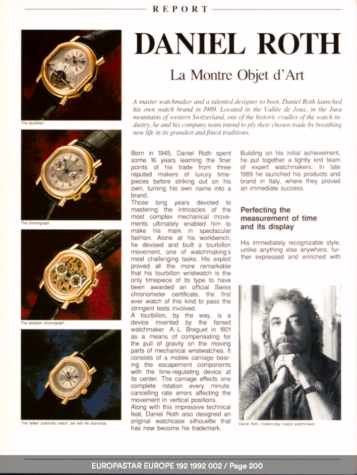 The work of Daniel Roth as featured in Europa Star in 1992