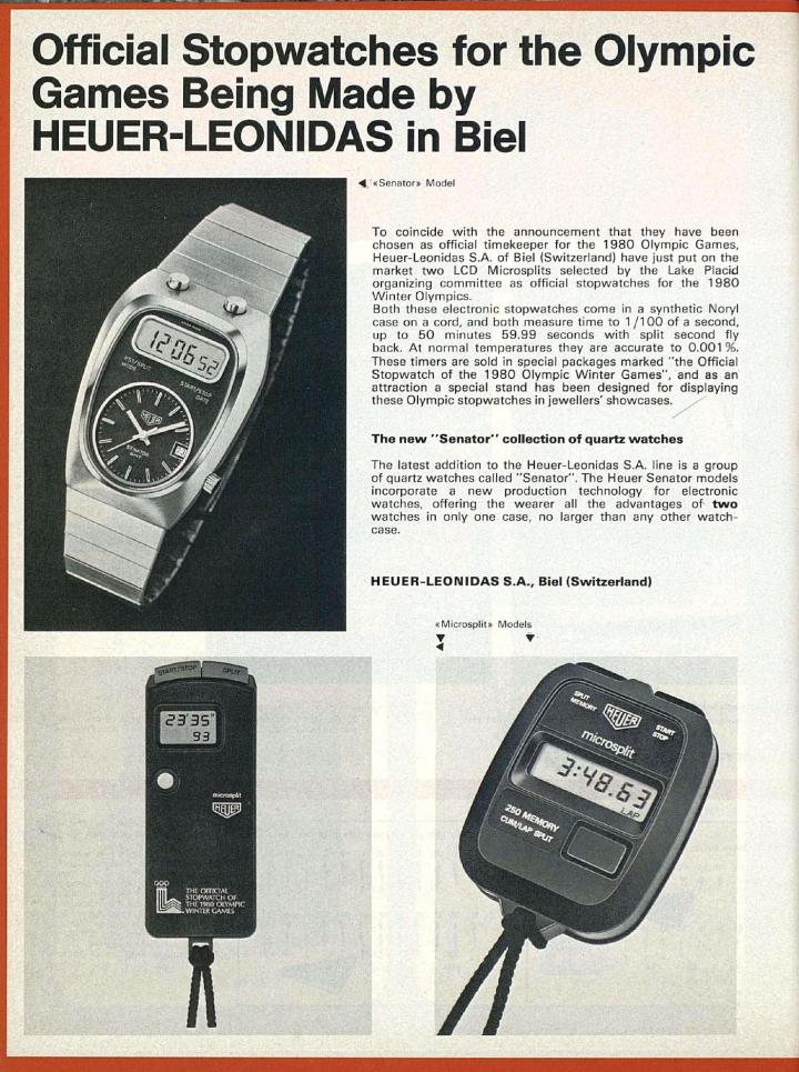 Heuer-Leonidas was the official timekeeper of the 1980 Olympic Winter Games.
