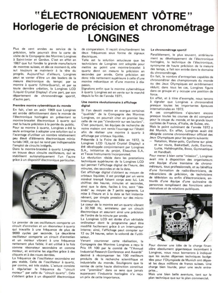 "At the 1972 Olympic Games in Munich, Longines highlighted its expertise in sports timekeeping. The technical expenses budgeted for the event ""exceeded two million Swiss francs""."