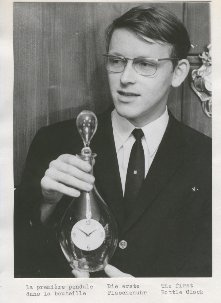 The young Svend Andersen with his first clock in a bottle in 1969