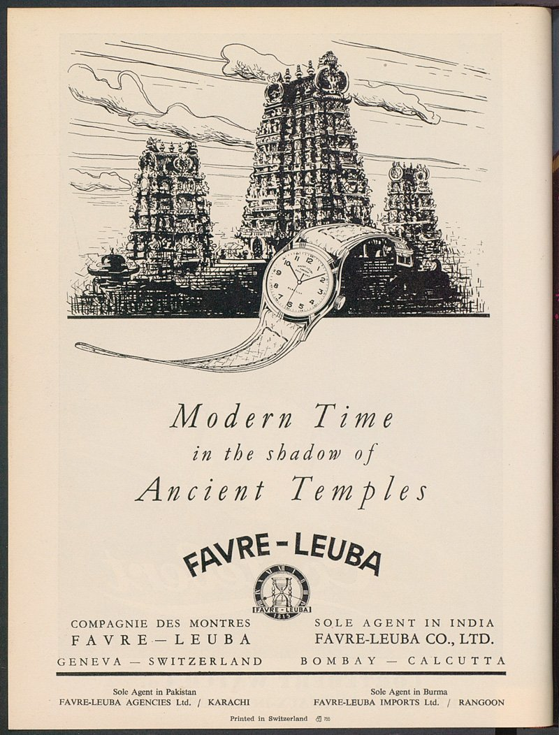 In 1950, as this ad published in the Asia edition of Europa Star shows, India was still one of Favre-Leuba's largest markets. The brand enjoyed an excellent reputation there.