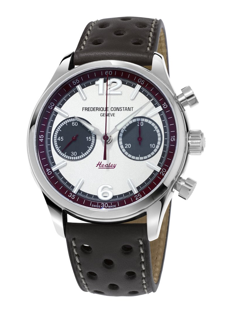 The Vintage Rally Healey sports a bi-compax chronograph layout
