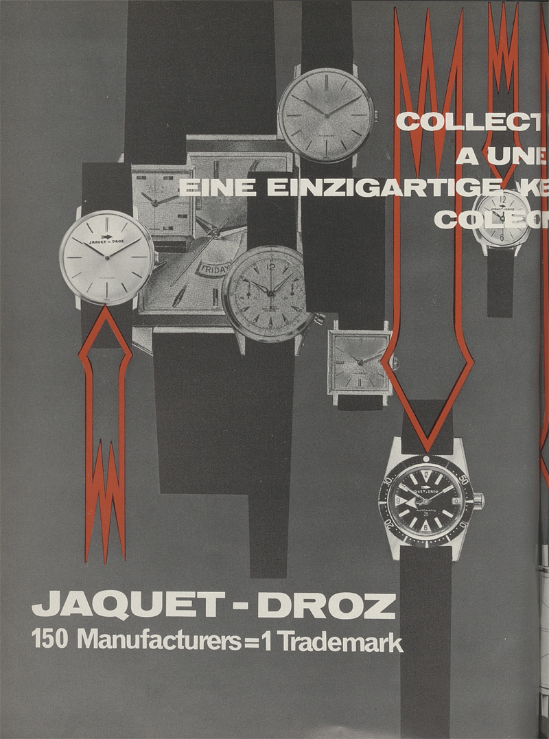 When Jaquet-Droz had 1,000 models: an archive piece from Europa Star dating back to 1965. At that time, no fewer than 150 factories, united under the Cooperative of Swiss Watch Manufacturers, marketed their products under the shared name of Jaquet-Droz.