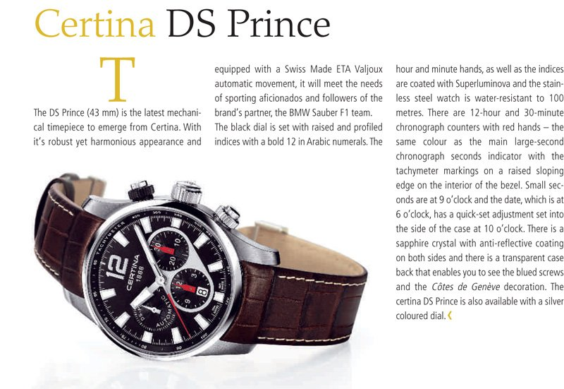 Certina DS Prince published in Europa Star in 2009
