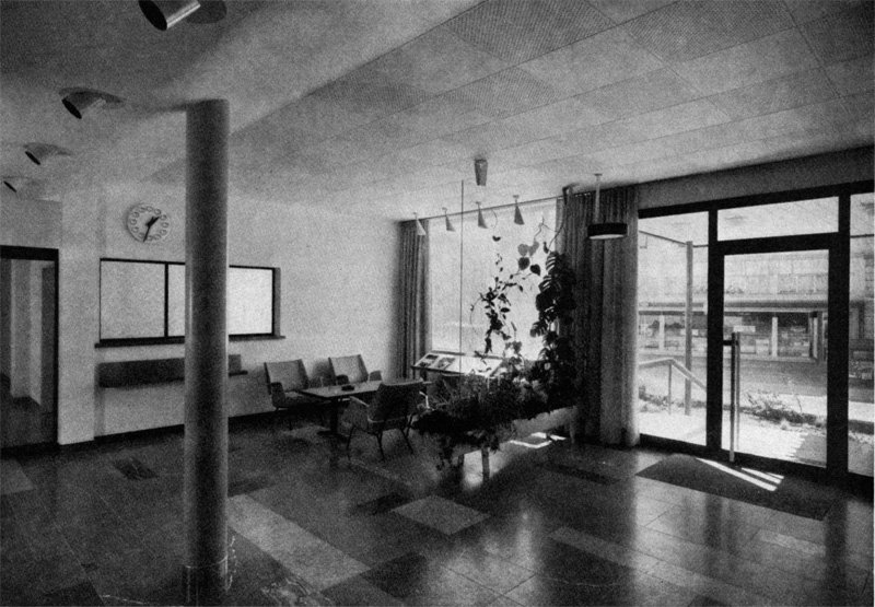 The modernist entrance hall of the Certina factory in 1959