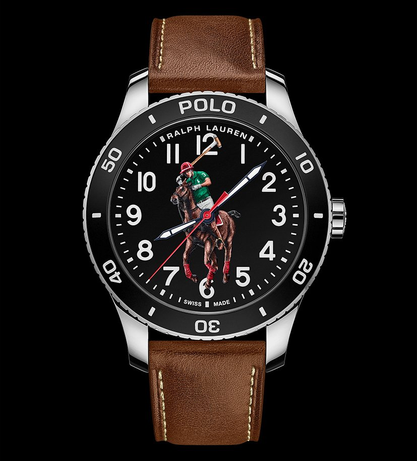 The brand offers a choice of several interchangeable straps: classic stainless steel, leather with ecru stitching, cotton madras straps inspired by authentic woven shirting, and a leather strap in three colourways printed with Ralph Lauren's Polo Sport logo inspired by '90s apparel collections. Additionally, there is a black sandblasted stainless steel option, available only with the black lacquered dial and matte hardware.