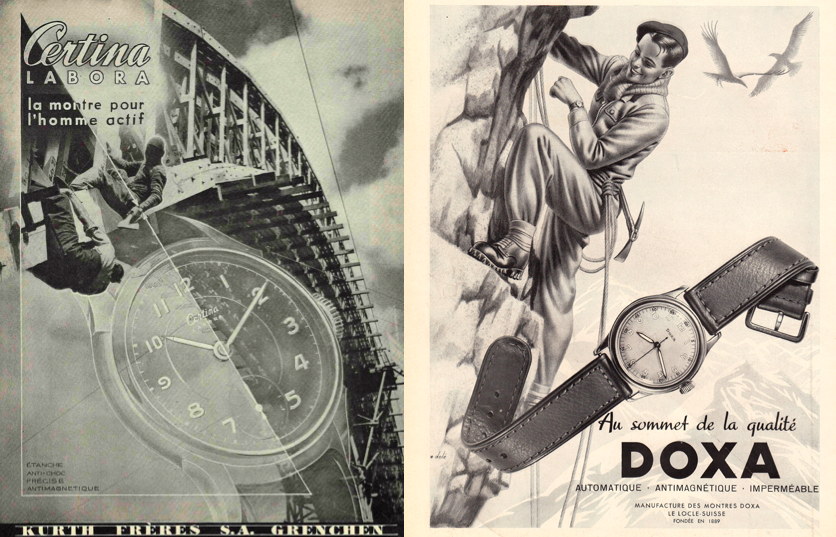 Certina & Doxa ads in the 40's (note the name of the Certina model was Labora)