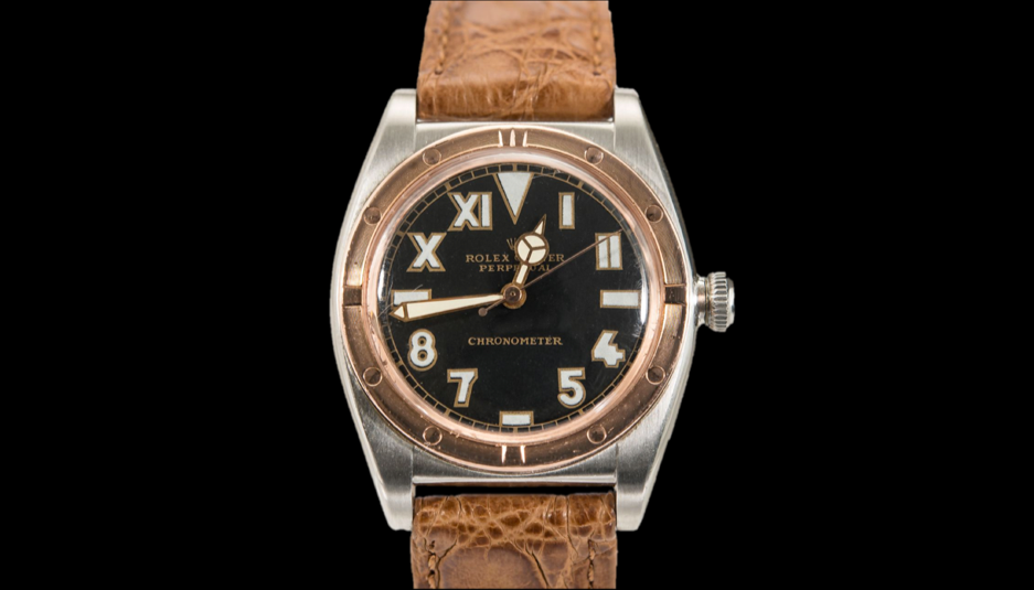 A 1944 Bubble Back in a stainless-steel case with a rose gold bezel and a Californian dial