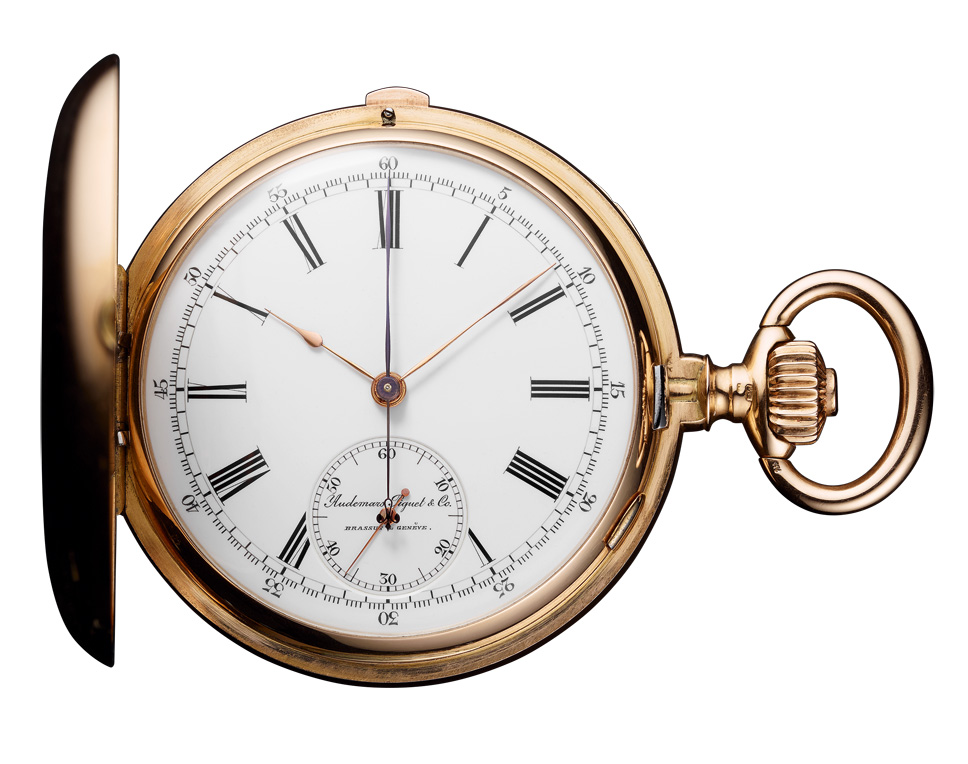Central instant minute counter pocket chronograph, dating back to 1899.